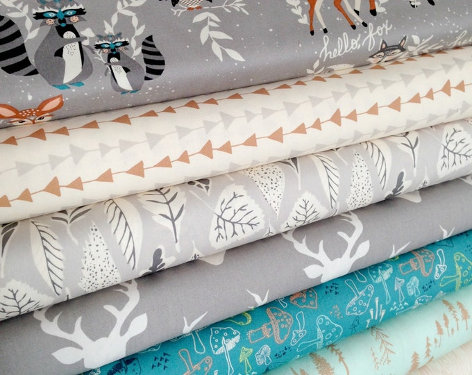 Baby blanket fabric, Patchwork Quilt Fabric, Woodland Nursery Fabric, Baby Shower Gift, Woodland Baby Quilt, Bundle of 8, Choose the Cuts