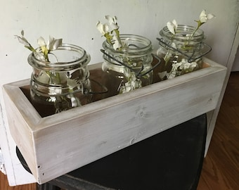 Wooden Planter Box, Farmhouse Decor, Spring, Fixer Upper Decor, Rustic Centerpiece Box