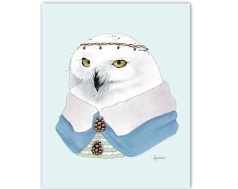 Snowy Owl art print by Ryan Berkley 8x10
