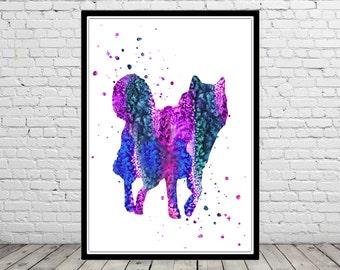 Alaskan Malamute, Alaskan Malamute watercolor, Alaskan Malamute dog, watercolor print, malamute print, watercolor malamute, dog (2565b)