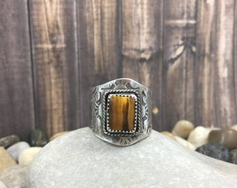 Square tigerseye ring, stamped silver ring, cigarband ring, tigerseye signet ring, yellow tigerseye, handmade ring, handmade jewelry