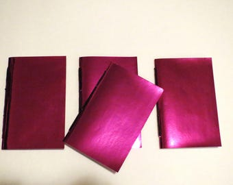Shiny metallic pink notebook minature journal, handmade, stitched blank journal, kid's party, NaNoWriMo