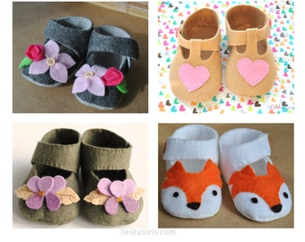 Felt Baby Shoe Pattern Bundle { 4 sets of Mary Jane Baby Shoes} Printable PDF Sewing Patterns