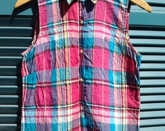 SALE // Vintage Checked Ralph Lauren Linen Sleeveless Shirt Top