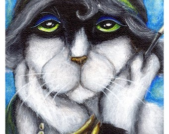 Margot, Jazz Flapper Tuxedo Cat, Roaring 20s, 8x10 Fine Art Print CLEARANCE