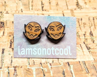 Wood Vampire Earrings - Dracula Wood Stud Earrings / Laser-Cut Wood Earrings / Walnut Wood Earrings / Hypoallergenic / Nickel-Free / Goth