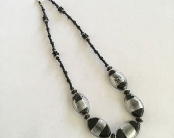 Chunky black glass bead necklace