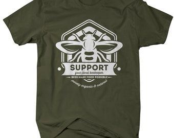 Men's Beekeeper T-Shirt Support Local Bee Keeper Honey Shirt Gift Idea