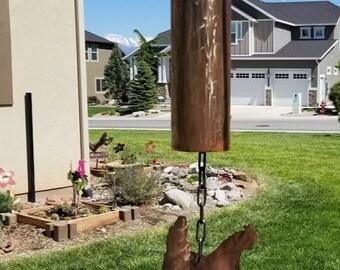 Copper chicken bell,farm,animals,yard art,garden art,recycled metal,