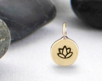 Lotus Flower Charm, Lotus Charm, Tiny Charm, Yoga Charm, Yoga Jewelry, Lotus Flower Pendant, Lotus Pendant, JIP247BR