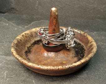 RING DISH: Wood Fired Round Pottery Ring Dish Jewelry Holder  | Brown with Black and Ash Deposits