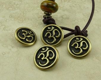 3 TierraCast Om Buttons - Spiritual Zen Buddhist Yoga Peace * Brass Ox Plated LEAD FREE Pewter - I ship Internationally 6568