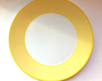 Vintage Pagnossin Treviso or Martinique Plate - Bright Yellow Border Ironstone - Made in Italy - 8 Inch Classic Salad Plate - Italian Plate