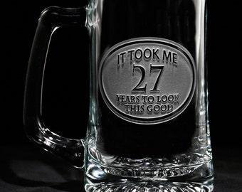 Birthday Beer Mug Glass, Engraved