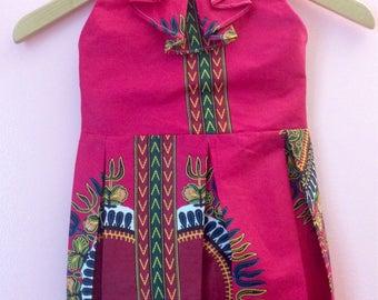 Pink fuschia lined baby child dashiki wax has ruffled pleated dress