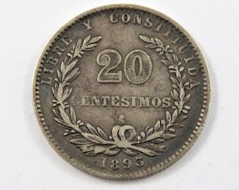 Uruguay 1893/73 So Silver 20 Centesimos Coin.