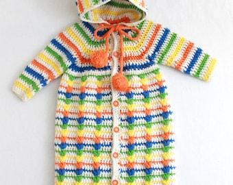 Puff Stitch Baby Bunting Crochet Pattern PDF