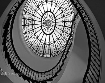 Staircase Photography, Spiral Staircase Print, Black and White Photograph, Abstract Wall Art, Architecture Print, Home Decor, Hotel Decor