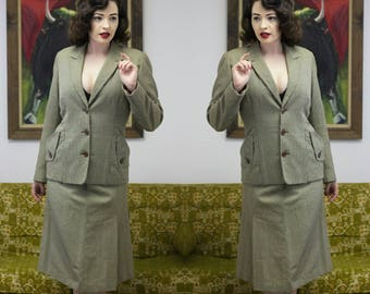 """1950s Houndstooth Suit   50s Suit   1950s Suit   50s Fitted Suit   Dogstooth Suit   Houndstooth Suit   50s Blazer   50s Skirt   27.5"""" - 28"""""""