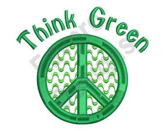 Peace Symbol Think Green - Machine Embroidery Design