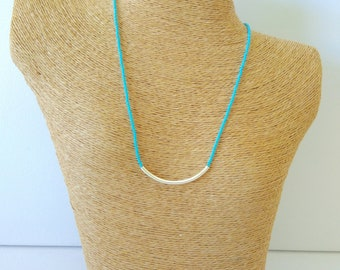 Bar necklace turquoise necklace beaded necklace minimalist necklace dainty necklace,noodle necklace,bridesmaid gift dainty choker delicate