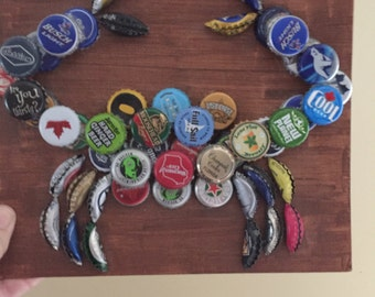 Crab made from bottle caps