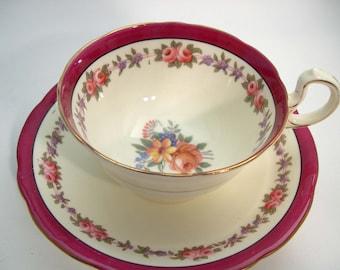 Maroon Aynsley Tea Cup and Saucer,  Aynsley maroon  and Ivory tea cup and saucer, Aynsley Floral teacup.