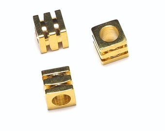 cube spacer bead 6 pcs 6 mm x 6 mm (hole 4 mm ) gold plated brass bab4 877