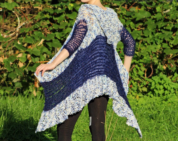 Blue Hoodie Shawl Unique Sweater Womens Chic Hooded Jacket perfect gift