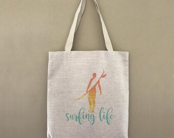 Custom Tote Bag Surfing Life Sunset Custom Customizable Personalized Gift For Him Beach Surfer Surf Ocean Waves Shopping Bag Bulk