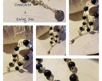 Blue Dumortierite and Sterling Silver Bracelet