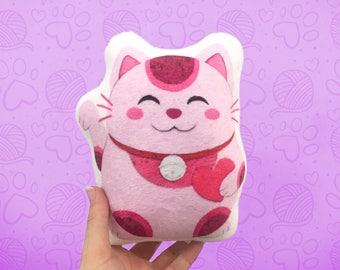 Lucky Cat Small Super Soft Plushie, Pink Cat Pillow, Handmade Pillow, Decorative Pillow, Home Decor, Stuffed Animal