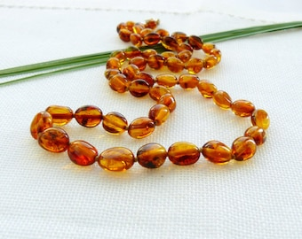 Baltic Amber Ladies Necklace. Polished Honey Baroque Amber Beads, gift for mum, grandma, wife, Xmas gift