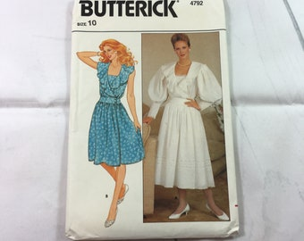 Butterick 4792 Vintage Sewing Pattern Misses' Dress Size 10 / 1980s / ladies' dress / front wrap dress / ruffled bodice / gathered waist