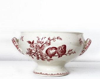 "Beautiful  large french BOWL Red BIRDS  ""Favori "" Sarreguemines"
