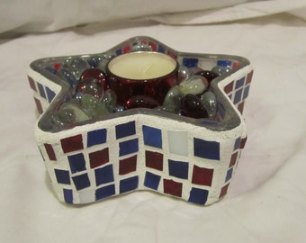 Red, White and Blue Star Mosaic Candle Holder
