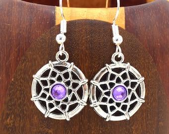 Earrings Dreamcatcher purple rhinestone silver, clip jokes-dreams silver