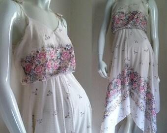FINAL SALE --- Vintage 1970s-80s White Floral Handkerchief Hem Sundress