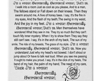Phenomenal Woman by Maya Angelou, Modern Typography, Poem Print