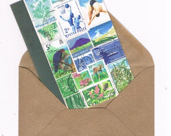 Wild Swimming NoteCard | Summer Landscape Card for Swimmer or Diver - World Travel Postage Stamp Art Print | Bon Voyage Card, Blank Inside