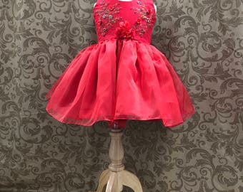 Red Flower Girl Dress, little girl formal dress, little girl formal gown