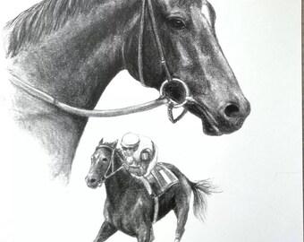 RUFFIAN Original Horse Racing Art Print