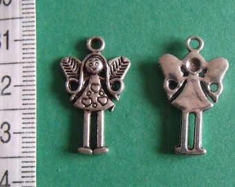 charm girl, charm with wings, pendant 25mmx15mm, jewelry creation, lot of 2 charms