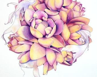 "Dancing Harmony 17"" x 17""  Watercolor Illustration"