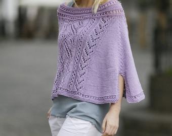 Women handmade hand knit light spring/summer poncho / shawl / capelet / wrap in 100% soft merino wool, sizes  S- XXXL