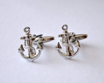 Cufflinks, Anchor Cufflinks, Cufflinks for men, Nautical Cuff Links, Cuff links Nautical Silver Beach Wedding Groom Groomsman, Sailor cuff