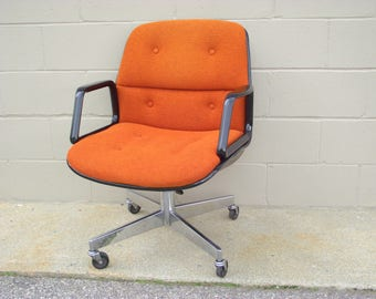 Pollock Knoll Style Office Arm Chair   Orange Tweed Brown Back   Mid  Century   Rolls Spins Tilts Swivels   American Retro Chrome   Allsteel
