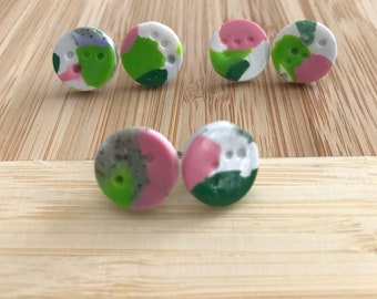 Small Circle Stud 2 - Dark Green , Lime , Pink and Granite