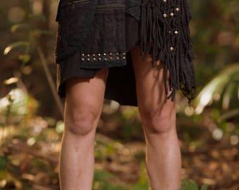 Alessia Studded Pocket Skirt (Black) - Festival Clothing Stud Gypsy Goa Fairy Hippie Boho Vintage Wrap Skirt with Belt and Pockets Bohemian