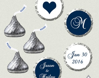 Printable Hershey Kiss Labels, Wedding Kiss Stickers, Navy Wedding Kisses, Monogram Kisses, Wedding Kiss Favor, Hershey Kiss Stickers